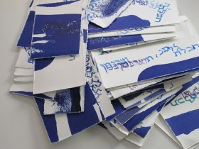 Artworks with blue rubber stamp print