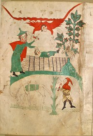 A medieval illustration of the biblical story, in colours