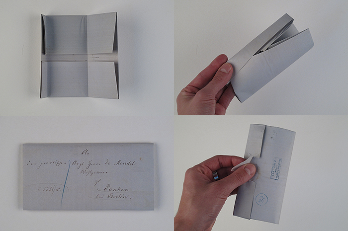 The fold created a flap for one page to be pushed into. Then the folded letter was sealed and addressed. The seal must be broken to open the letter.