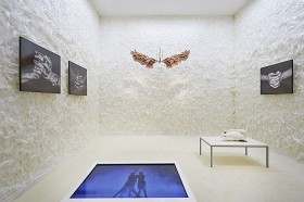 A white room with feathers, black and white photos of hands, a sculpture of hands and a swan