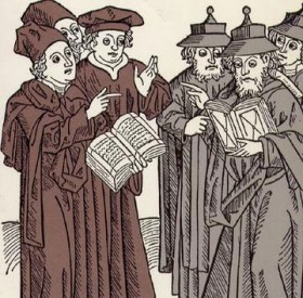 Picture of scholars with books discussing with each other