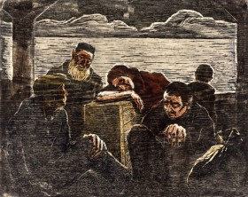 Woodcut with five tired people, two sitting on the floor, one leaning on a wooden box and two standig in the background