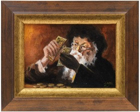 Painting of a bearded man with a black hat counting money