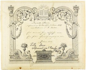 Handwritten certificate with ornaments with Hebrew letters
