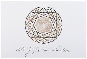Stylized diamond with the caption Liebe Grüße aus Namibia (Best wishes from Namibia)