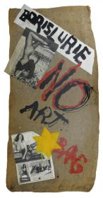 """A jute bag with pin-up girls, a yellow star, and the words """"Boris Lurie No Art Bag"""""""