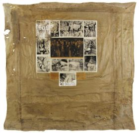 Collage of a newspaper picture of concentration camp prisoners surrounded by photographs of pin-up-girls