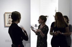 Four young women in the Boris Lurie exhibition