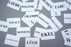 Cards with terms in German as politics, lie, disgust, or violence
