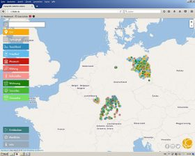 Screenshot of an interactive map of Germany
