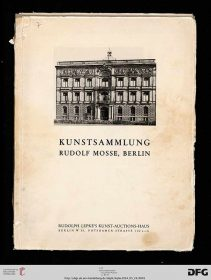 "Digitized title page of the ""Rudolf Mosse Collection, Berlin"