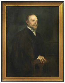 Oil painting of man with beard, black suit, and dark coat