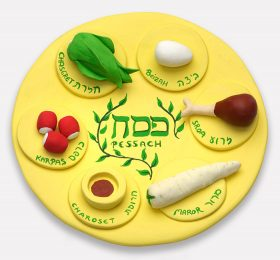 "Yellow plate with foods made of clay and the inscriptions: ""Pessah"" in the center and all around the edge ""Chazeret"", ""Beitzah"", ""Zeroa"", ""Maror"", ""Charoset"", and ""Karpas"""