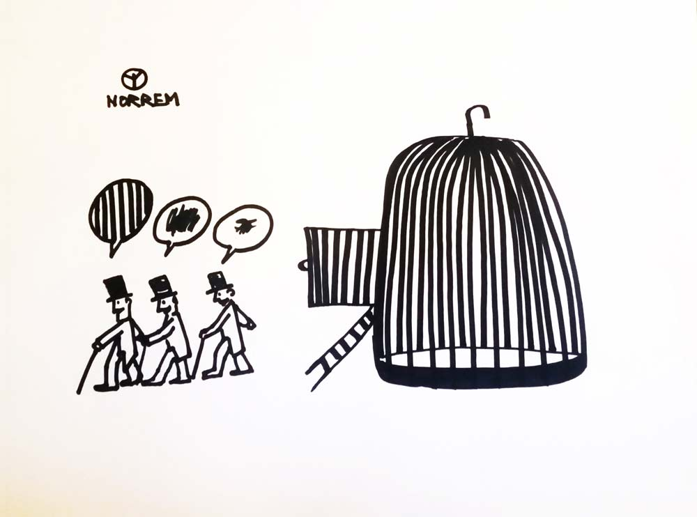 Three men with thought bubbles step out of a bird cage (black-and-white drawing)