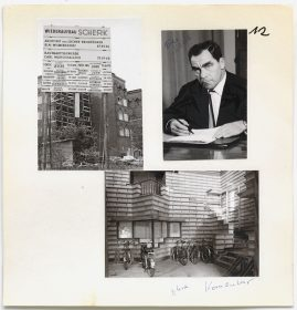 Two black-and-white photos of the factory and one portrait of Fritz Scherk signing a paper.