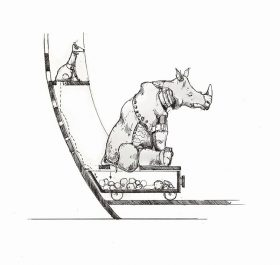 In the scetch a rhino sits on a waggon.