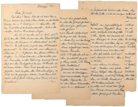 Four pages of a handwritten letter, in German