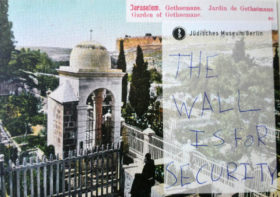 "Postcard on which is written ""The wall is for security"""
