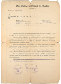 Official letter from the police president of Berlin