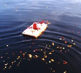 Blüten und Papierschiff treiben im Wasser
