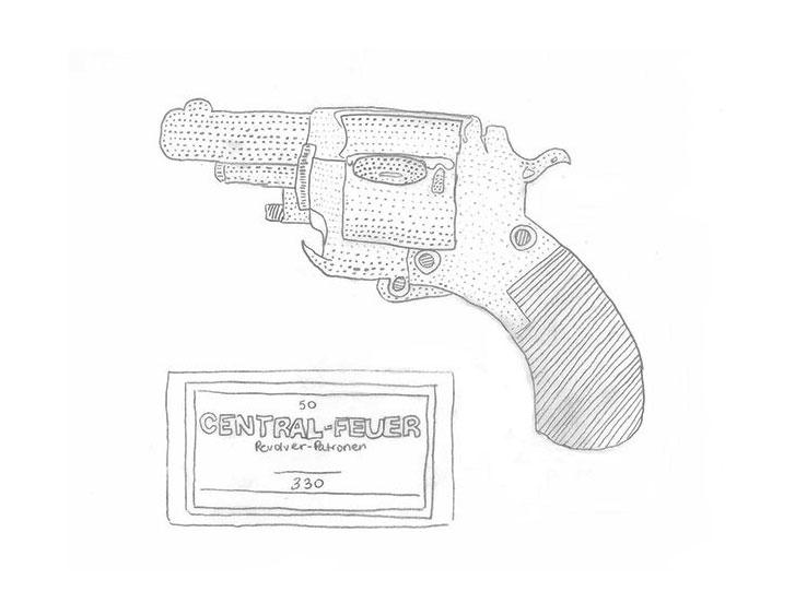 Zeichnung eines Revolvers