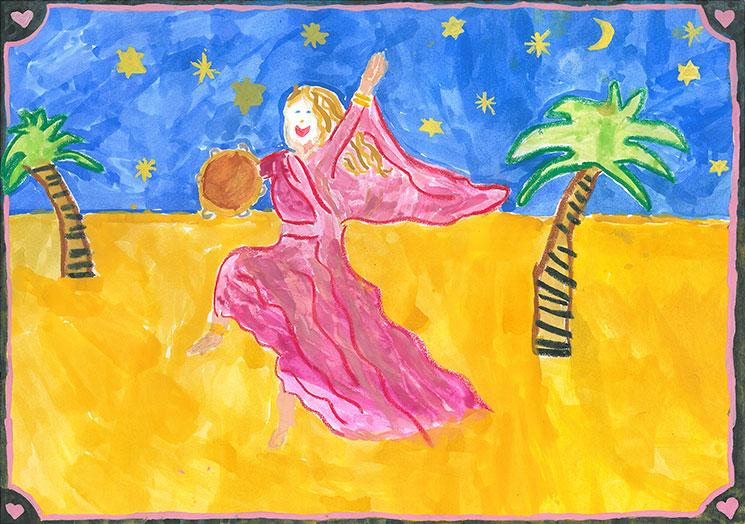 Kinderzeichnung der Prophetin Miriam mit Tambourin
