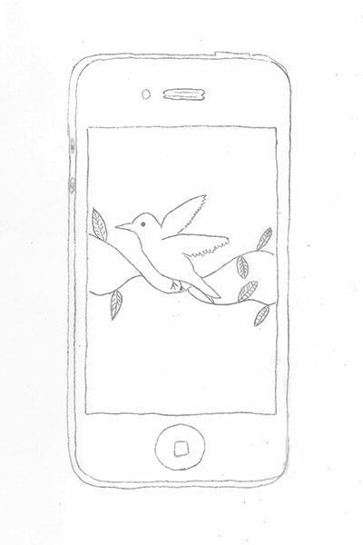 Zeichnung eines Mobiltelefons mit Vogel
