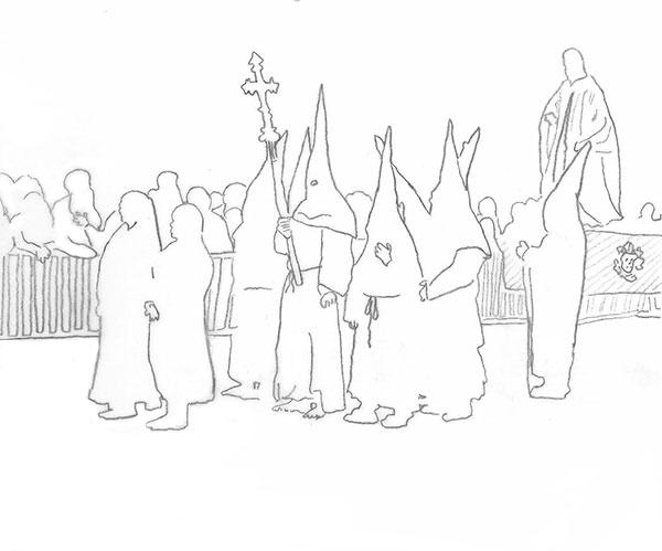 Zeichnung der Karfreitagsprozession in Perpignan