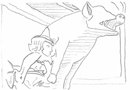 Zeichnung einer ›Judensau‹-Statue