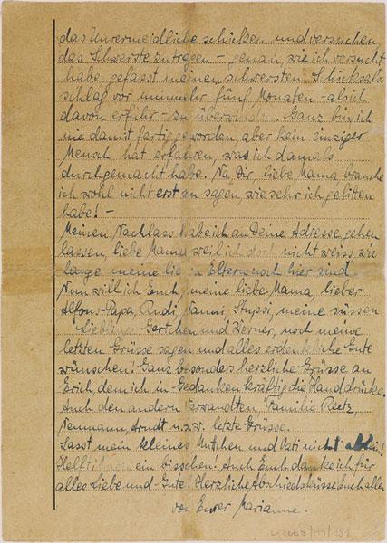 Abschiedsbrief von Marianne Joachim