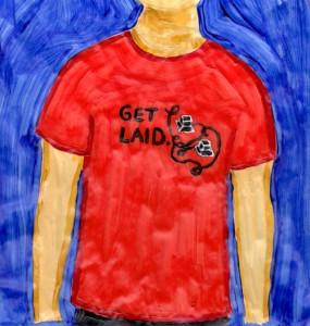 T-Shirt mit anzüglichem Wortspiel