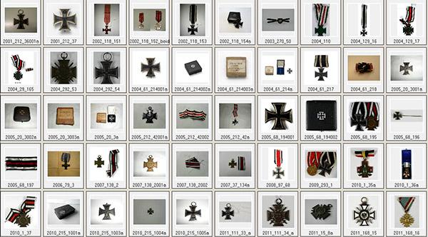 Abbildungen von 50 Eisernen Kreuzen