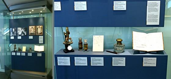 Ausstellungsvitrinen mit den Gegenständen Paul Ehrlichs