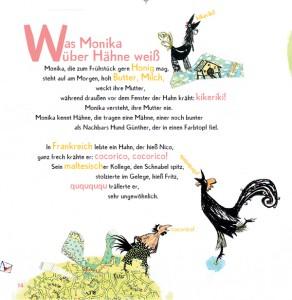 """Seite aus dem Bilderbuch mit Hähnen und dem Gedicht """"Was Monika über Hähne weiß"""""""