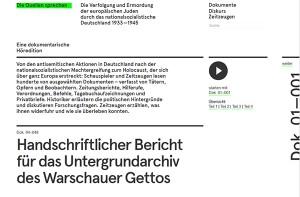Screenshot der Website »Die Quellen sprechen«