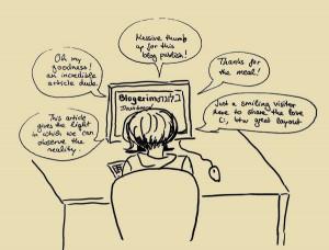 Zeichnung einer Person vor dem Computer, aus dem lauter Sprechblasen mit überschwänglichen Kommentaren kommen