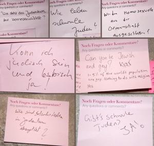 Zettel mit den Fragen: »Wie steht das Judentum zu Homosexualität?«, »Wie leben schwule Juden?«, »Werden homosexuelle Juden aus der Gemeinschaft ausgeschlossen?«, »Kann ich jüdisch sein und lesbisch? - Ja!«, »Can you be Jewish and gay? - Klar. 1-5% of the world's population is gay. Nothing to do with religion. Yes.«, »Wie sind Schwule und Lesben im Judentum akzeptiert?«, »Gibt's schwule Juden?«
