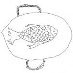 Gezeichneter Fisch auf einer Servierplatte