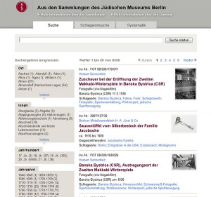 Bebilderte Objektliste einer Online-Datenbank