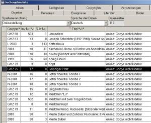 Listenansicht aus einer Datenbank