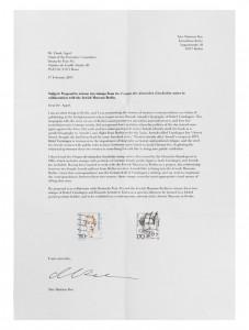 Foto des aufgefalteten Briefes, unter dem Text kleben zwei Briefmarken