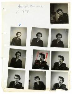 Kontaktbogen mit Porträtaufnahmen und Notizen