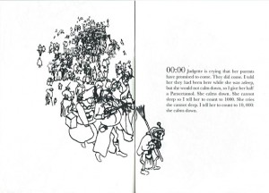 Ausschnitt aus dem Buch, links eine Zeichnug, rechts Uhrzeiten mit Beschreibungen
