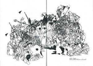Illustration über zwei Seiten