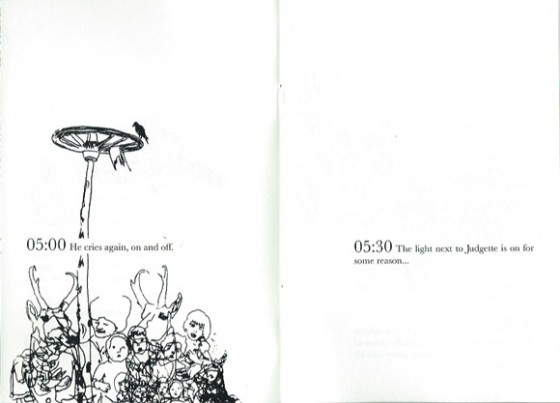 weiterer Ausschnitt, links eine Zeichnung mit Zeitangabe, rechts eine weitere Zeitangabe