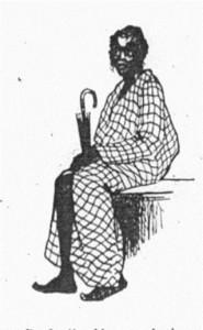 Dunkelhäutiger Mann mit Regenschirm