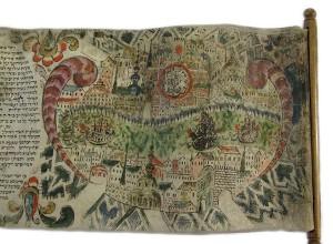 Detail einer Esther-Rolle mit dem bunten Gemälde einer Stadt
