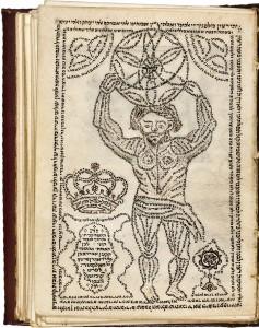 Hebräische Schrift ist so angeordnet, dass das Bild eines muskulösen Mannes mit einer Kugel auf dem Kopf entsteht