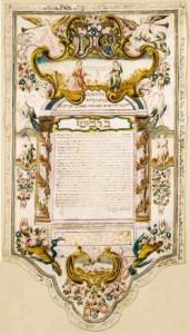 Ein illustrierter Hochzeitsvertrag in hebräischer Schrift
