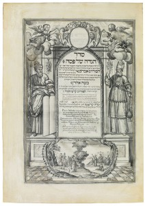 In Schwarzweiß gezeichnete Buchseite mit hebräischen Schriftzeichen und zwei männlichen Figuren